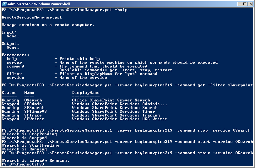 write a simple powershell script