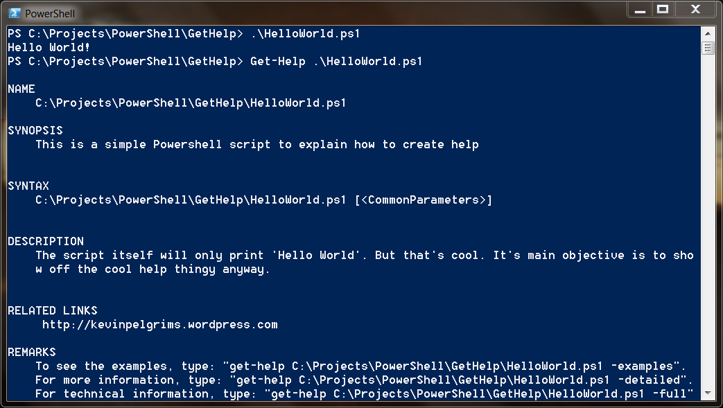 Add help to your own PowerShell scripts