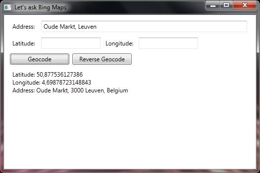 Bing Maps - Geocoding and Imagery